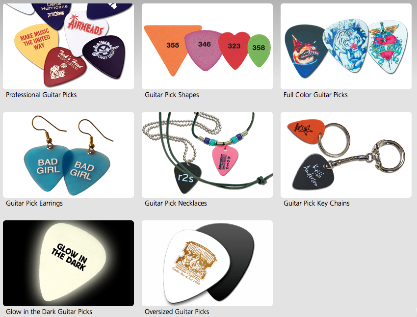 Custom Guitar Picks: Jewelry, key chains, business cards...