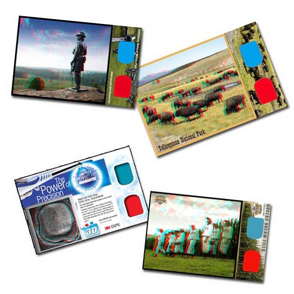 3d glasses custom post card